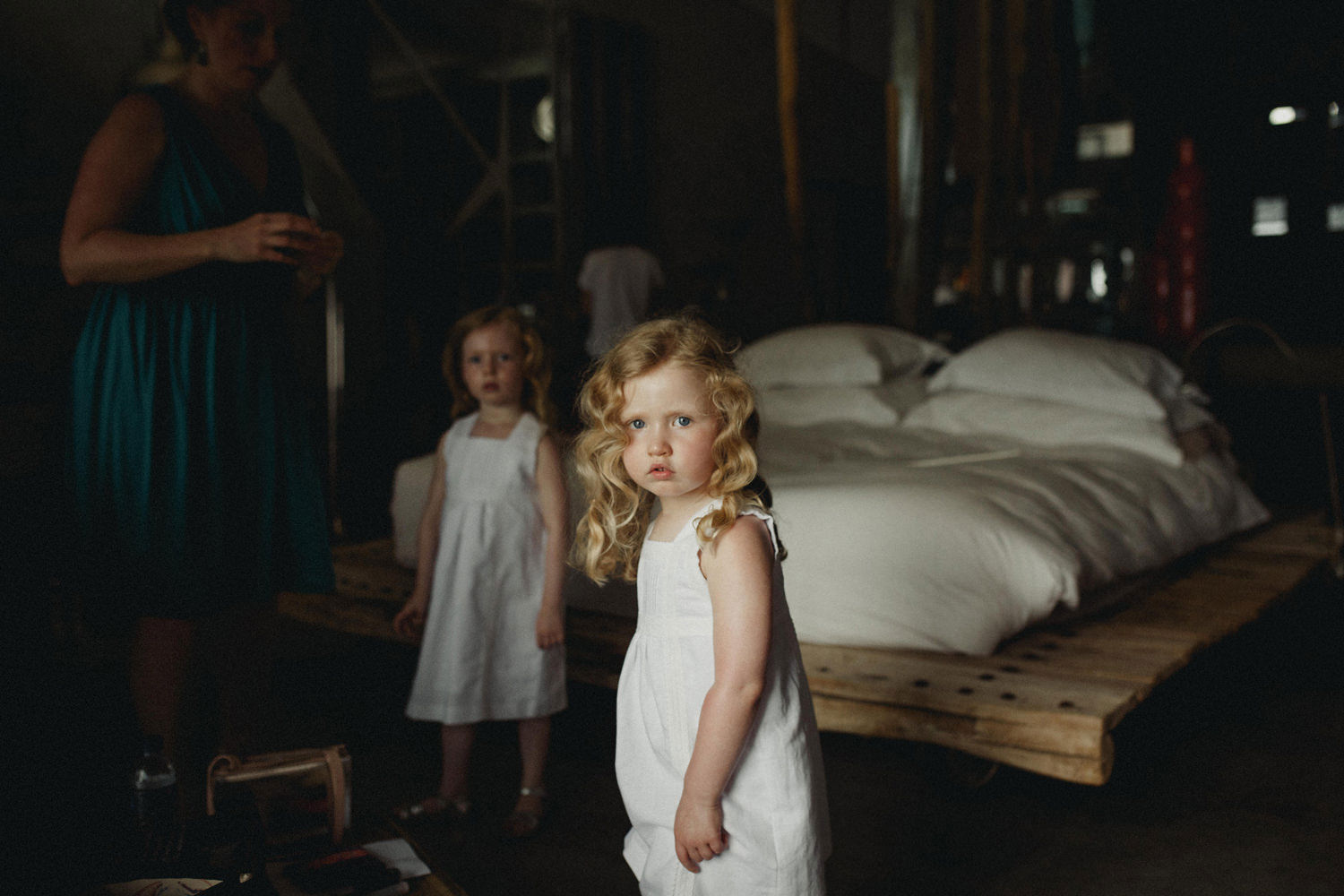 Angelic little flower girl from a wedding preparations at Areias do Seixo, Portugal