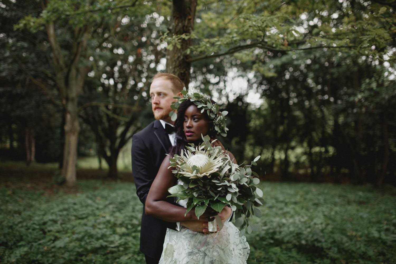 alternative couple portrait on a UK wedding