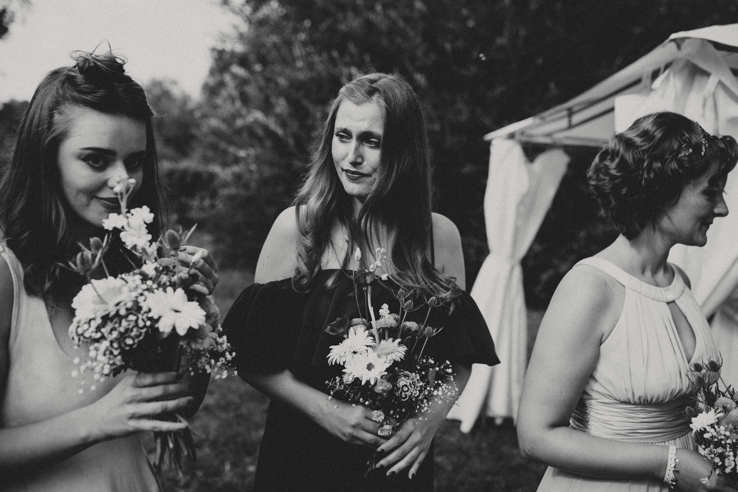 emotional bridesmaids in outdoor weding ceremony portugal