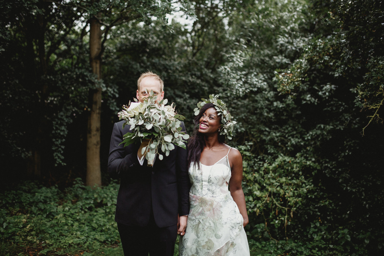 alternative bride and groom in uk wedding venue