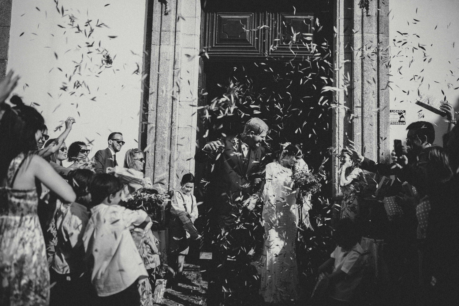 ceremony exit after chuch wedding ceremony north of portugal