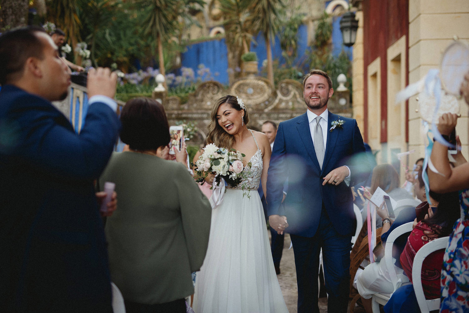 bubble exit in palace destination wedding in lisbon portugal