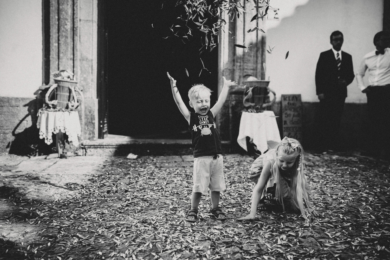 kids having fun at a protugal wedding