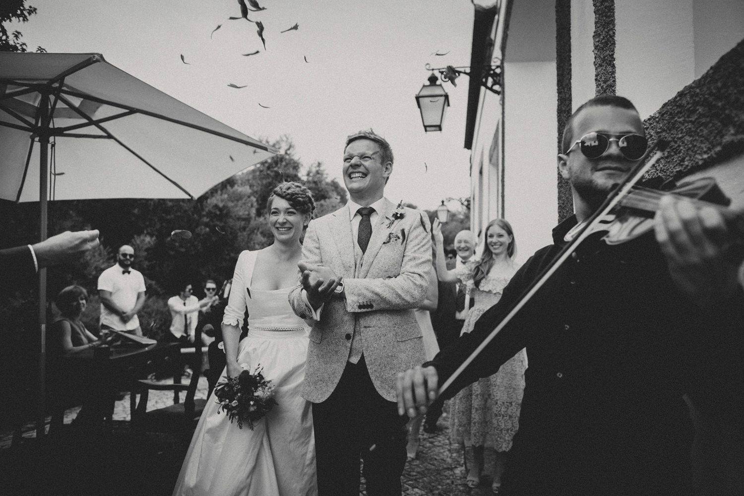 ceremony exit of an alternative wedding in portugal