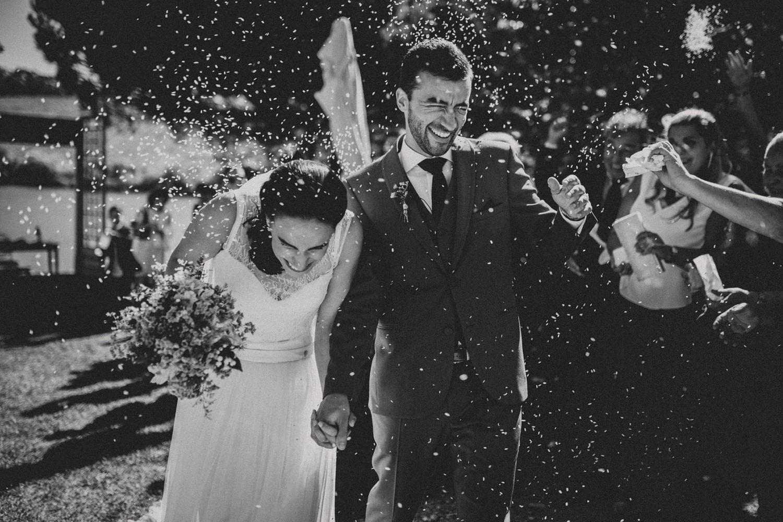 ceremony exit after a quinta da bichinha wedding