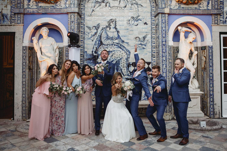bridal party at a palacio marqueses fronteira wedding in lisbon portugal