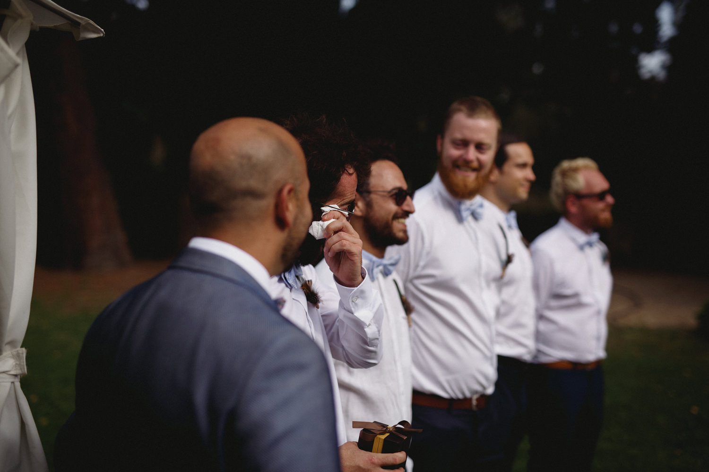 emotional groomsmen before alternative outdoor ceremony portugal