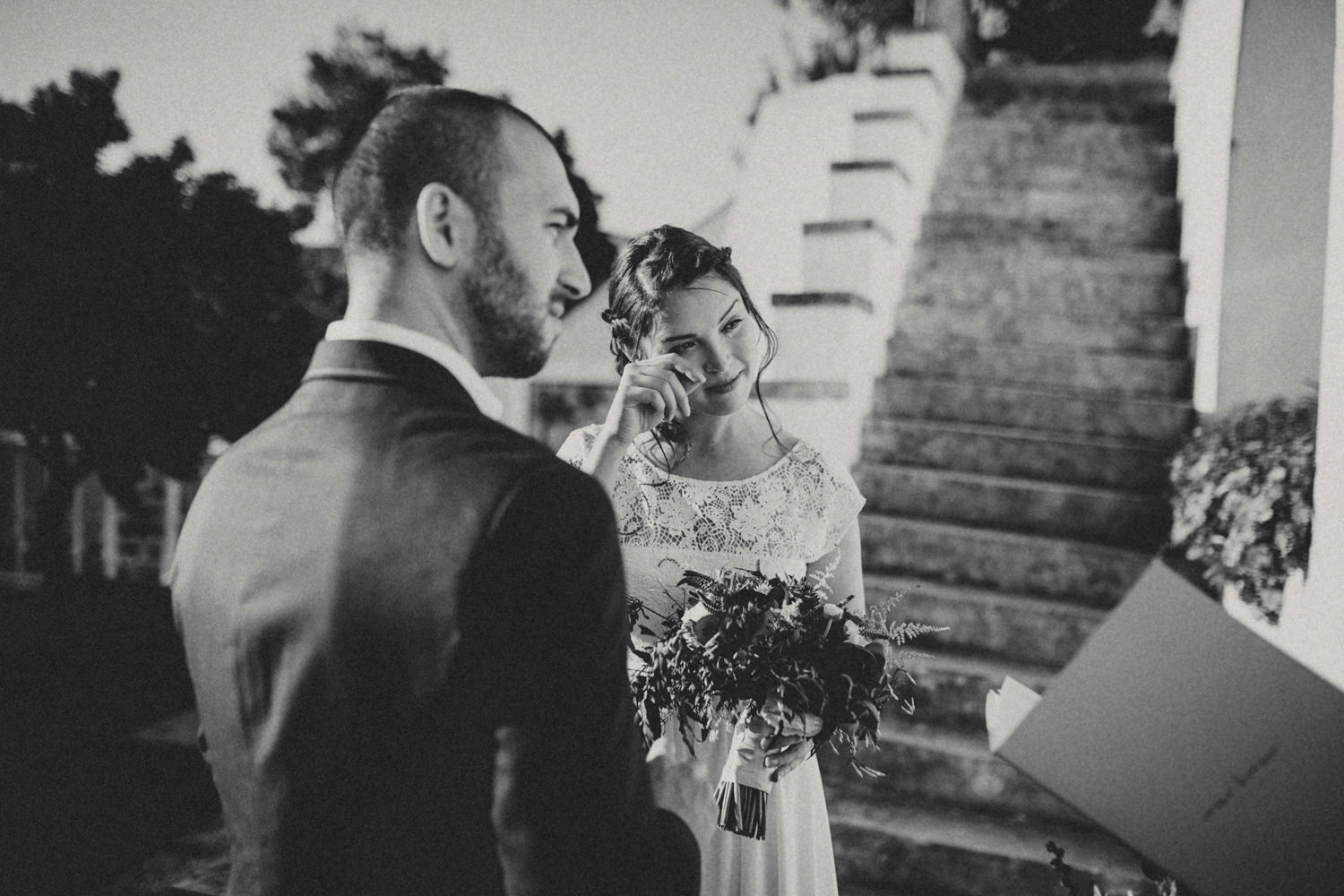 bride crying during an intimate elopement in portugal