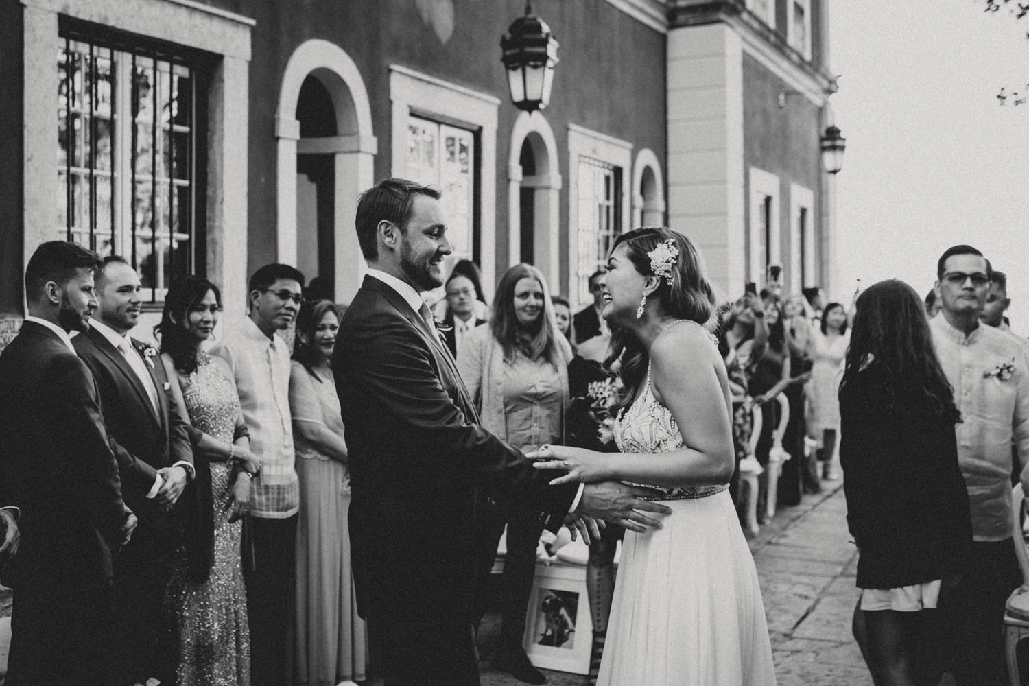 bride and groom before an emotional palace wedding in portugal