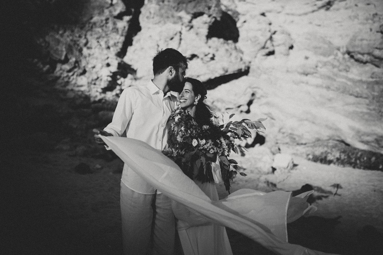 newlyweds after an algarve beach wedding