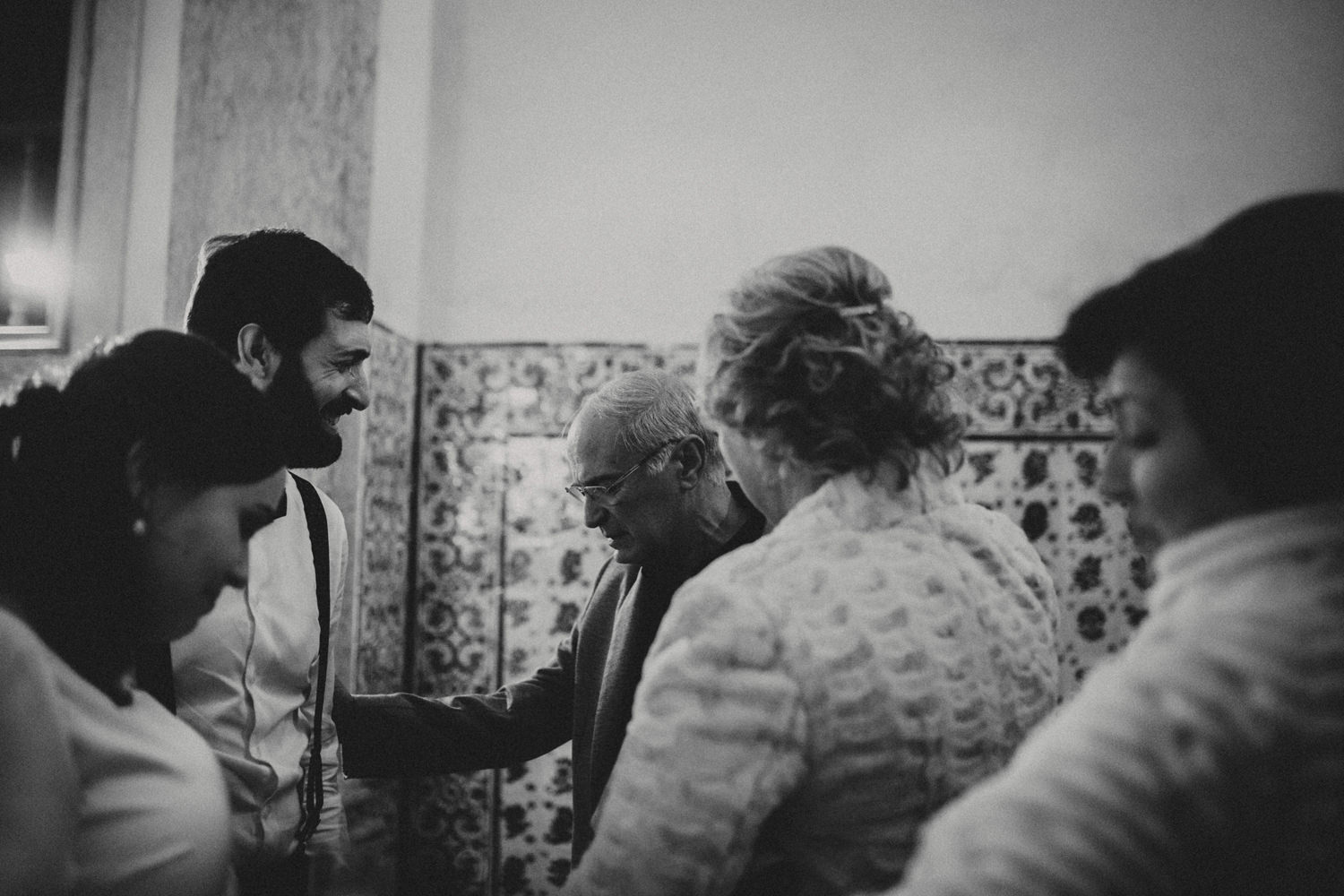 emotional couple and their parents after a sintra wedding