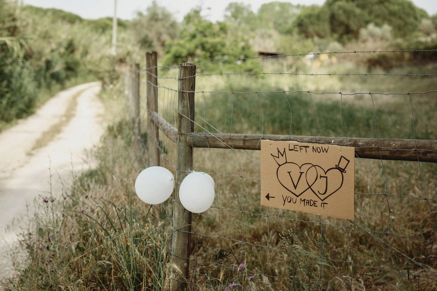 hand made signs at a DIY wedding in Portugal