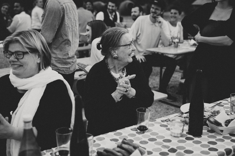 family members applauding on german wedding