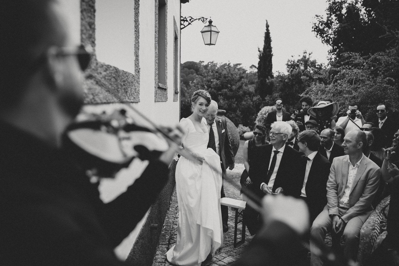 bride walking down the aisle portugal wedding